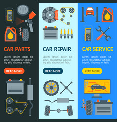 cartoon car service banner vecrtical set vector image