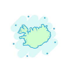 cartoon iceland map icon in comic style iceland vector image