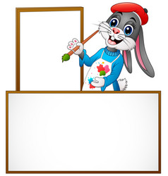 Cartoon rabbit painting in an empty board vector