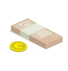 Cash euro and some gold coins vector
