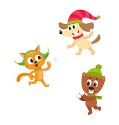 Cat dog and bear characters playing snowballs vector