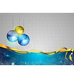 christmas background two color blue balls vector image