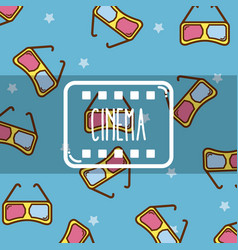 cinema cute cartoons pattern background vector image