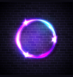 circle background on brick wall neon lights sign vector image