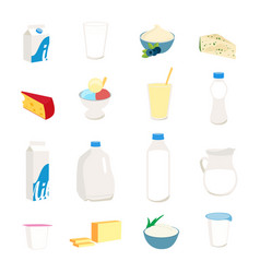 Collection dairy products milk butter cheese vector