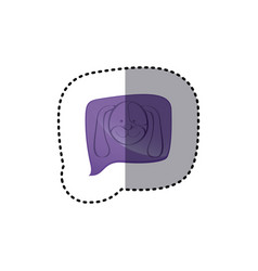 Color sticker with dog face in square speech vector