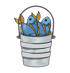 Colored pencil silhouette bucket full fish vector
