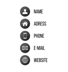 contact communication icons for business card web vector image