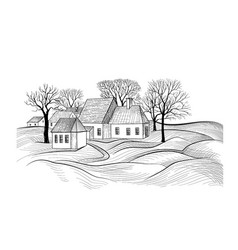 Countryside rural landscape with village house vector