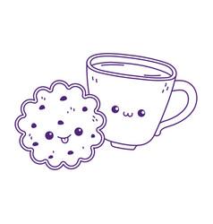 Cute coffee cup and cookie kawaii cartoon vector