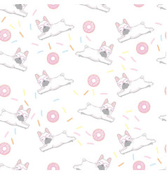 cute dog seamless pattern watercolor puppy vector image