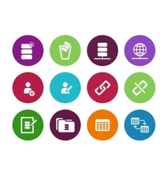 Database circle icons on white background vector image