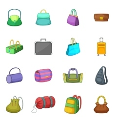 Different bagage icons set cartoon style vector image