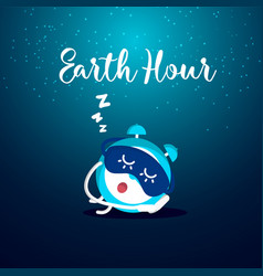 Earth hour slumbering alarm clock vector