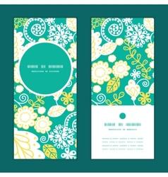 Emerald flowerals vertical round frame vector