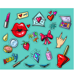 fashion badges or stickers hand drawn style vector image