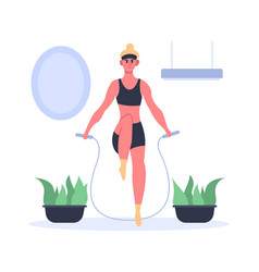 Fit girl doing exercises with jumping rope at home vector