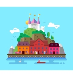 Flat design of summer European vector