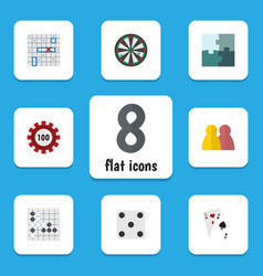 flat icon entertainment set of jigsaw gomoku vector image