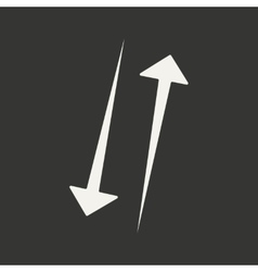 Flat in black and white mobile application arrow vector