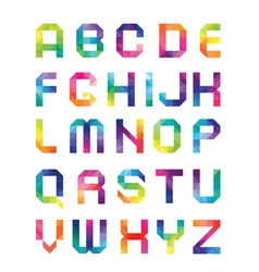 Font from triangles with color transitions vector