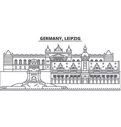 Germany leipzig line skyline vector