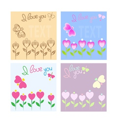 Greeting card with hearts and butterfly vector