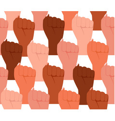 Group multicultural people raised fist sign vector
