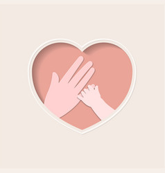 hand baholding mother finger in heart vector image