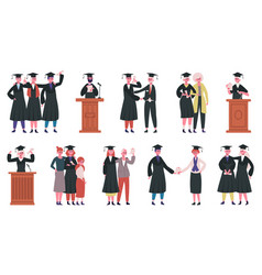 happy graduate students college graduates at vector image