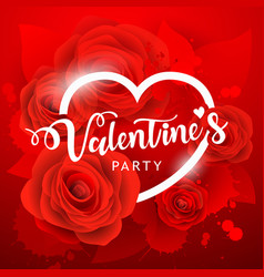 Happy valentine day party white message and red vector