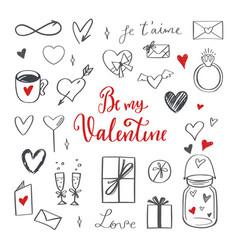happy valentines day doodle set vector image