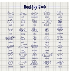Healthy food set on notebook page vector image