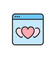 Hearts in browser favorite website vector