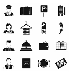 Hotel simple icons set vector