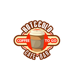 icon of coffee cup fast food drinks to go vector image vector image