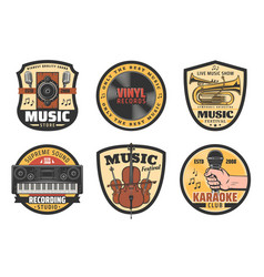 icons music instruments vector image