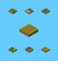 Isometric way set of footpath flat upwards and vector