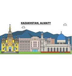 Kazakhstan almaty city skyline architecture vector