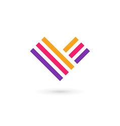 Letter V heart logo icon design template elements vector image