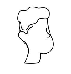 Line nice man face with haistyle vector