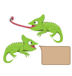 Lizard eating insect in flat style vector