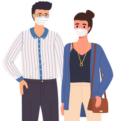 Male character and woman are wearing medical masks vector