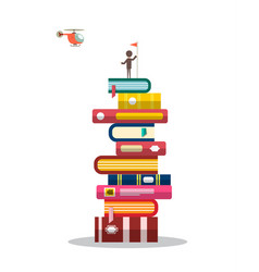 man with flag on books pile with helicopter on vector image
