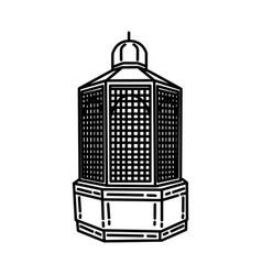 Maqam ibrahim icon doodle hand drawn or outline vector