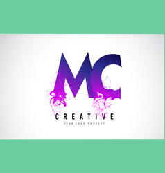 Mc m c purple letter logo design with liquid vector