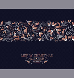 merry christmas copper ornament pattern card vector image