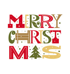 merry christmas fun doodle letters type design vector image