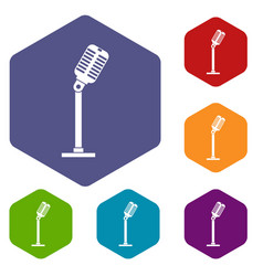 Microphone icons set hexagon vector
