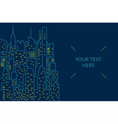 Night cityscape flat line vector